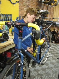 Katharine dialing in my newly coated CC at Kindred Cycles in the Strip.