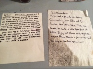 Notes in the Bike House about lodging options near Christiansburg. The hospitality offered to cyclists is amazing.